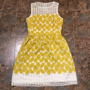 Anthropologie yellow flower dress